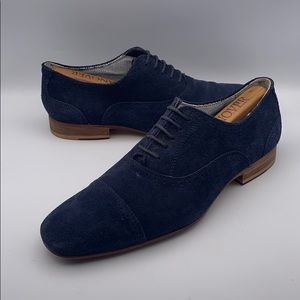 Zara Man Size 42 Blue Suede Oxford Shoes